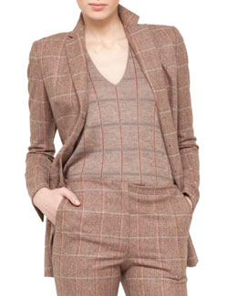 Akris Plaid Long Jacket, Steppe