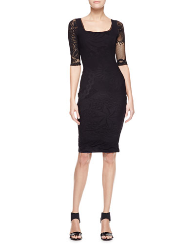 Jean Paul Gaultier 3/4-Sleeve Square Neck Dress, Black