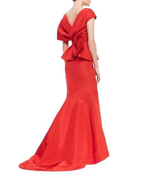 Bow-Back Short-Sleeve Peplum Fishtail Gown