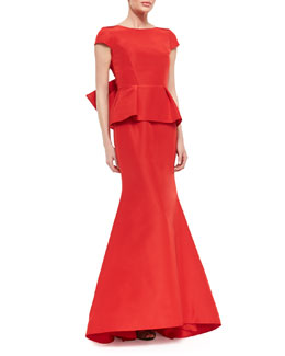 Oscar de la Renta Bow-Back Short-Sleeve Peplum Fishtail Gown