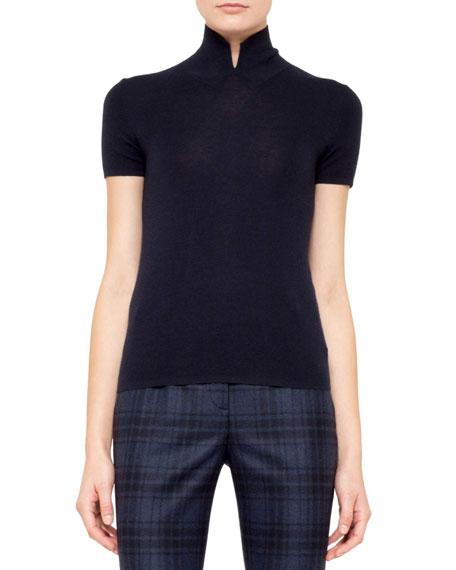 Short-Sleeve Knit Pullover, Denim