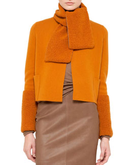 Akris Short Cashmere Knit Cardigan, Sunset