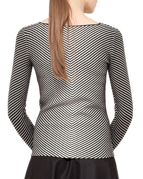 Striped Knit Pullover, Black/Ecru