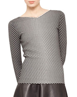 Akris Striped Knit Pullover, Black/Ecru