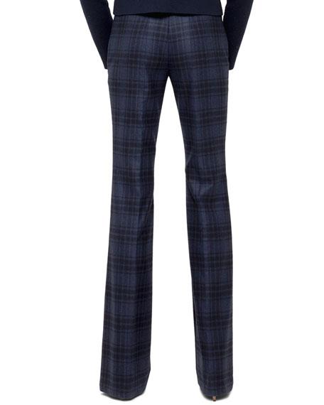 Farrah Plaid Flannel Pants, Denim/Black