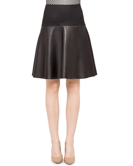 Flannel/Leather Flare Skirt, Black