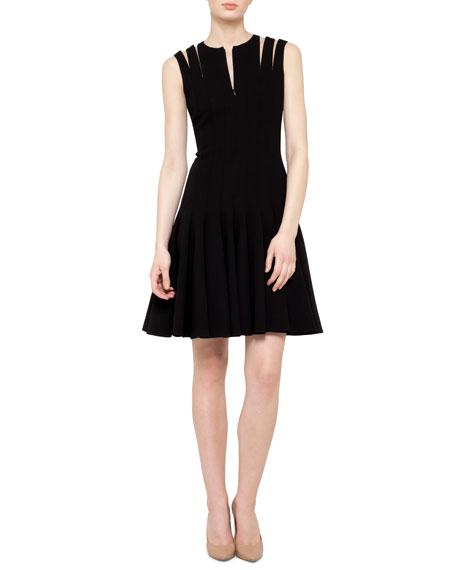 Double-Face Wool Zip-Shoulder Flare Dress, Black