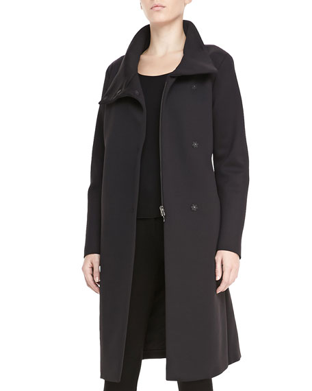 Funnel-Neck Long Neoprene Coat, Black
