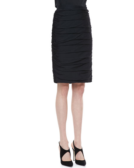 Pleated Pencil Skirt, Black