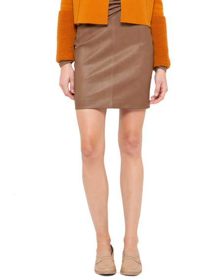 Napa Leather Pencil Skirt, Steppe