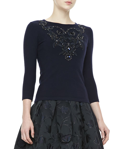 3/4-Sleeve Embroidered Cashmere Knit Top, Navy
