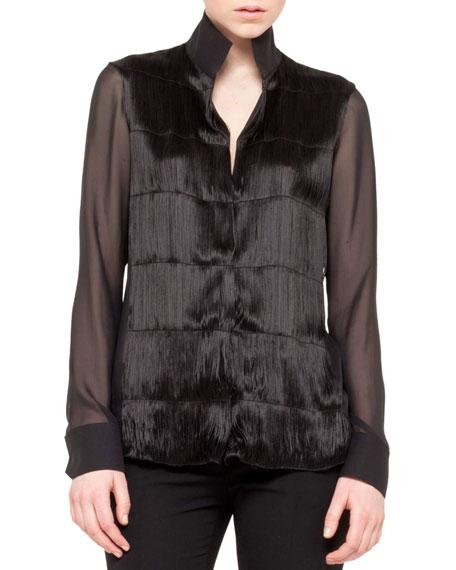 Long-Sleeve Fringe Front Tunic, Black