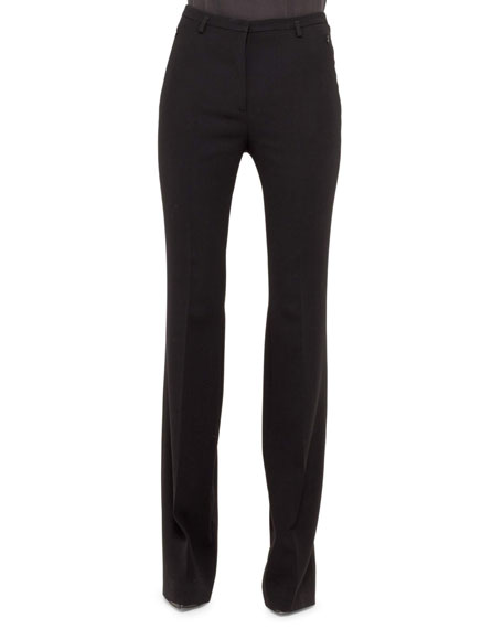 Akris Farrah Slight Boot-Cut Pants, Black