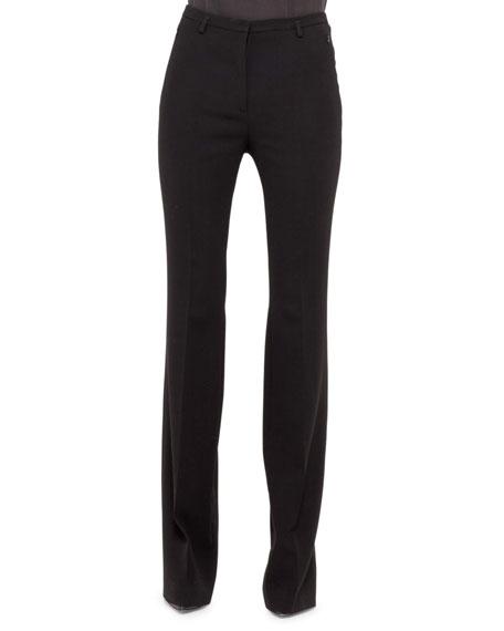 Farrah Slight Boot-Cut Pants, Black