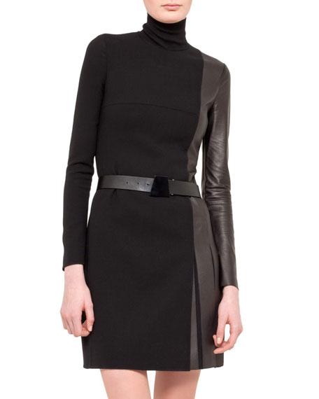 Wool/Leather Turtleneck Dress, Black