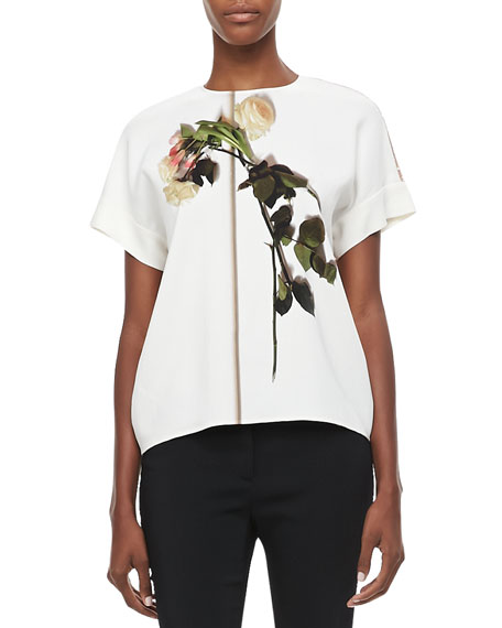 Short-Sleeve Floral Blouse with Lace Back