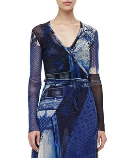 Jean Paul Gaultier Short Printed Wrap Cardigan, Blue