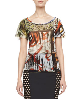 Jean Paul Gaultier Flutter-Sleeve Printed Tee, Multicolor