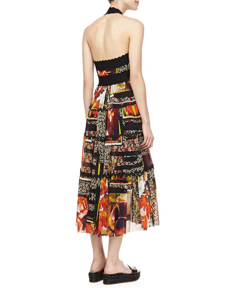 Full-Skirt Mid-Calf Halter Dress, Black/Orange