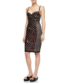 Jean Paul Gaultier Spaghetti-Strap Demi-Cup Dress, Black/Multi