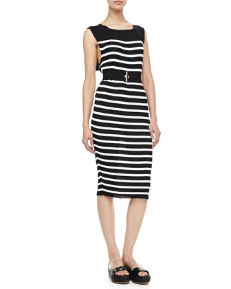 Striped Sleeveless Knit Dress, Black/Cream