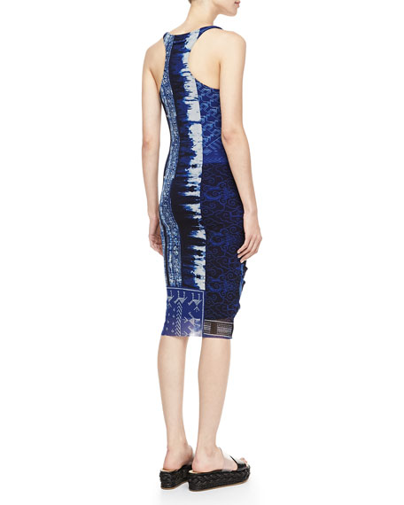 Plunging Ruched-Front Dress, Blue
