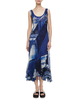 Jean Paul Gaultier Long Printed Dress, Blue