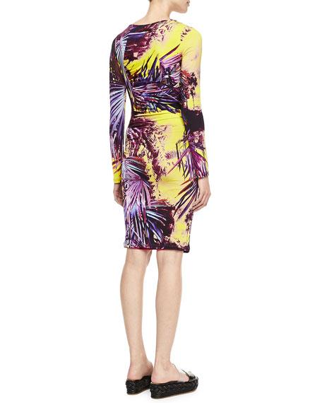 Printed Long-Sleeve Jersey Dress, Yellow/Multi