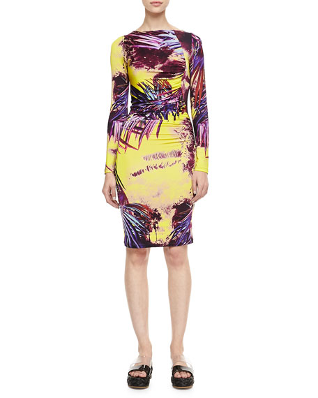 Printed Long-Sleeve Jersey Dress, Yellow/Multi