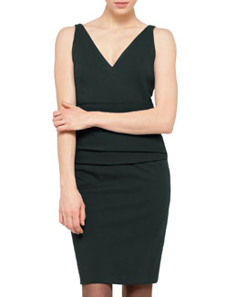 Akris punto Cummerbund-Waist Dress, Juniper