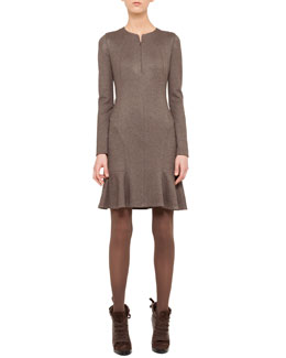 Akris punto Godet-Skirted Jersey Dress, Yak