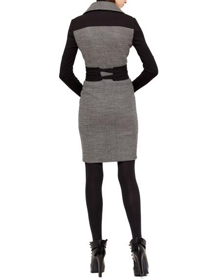 Bird's Eye Moto Coat Dress, Black/Cream