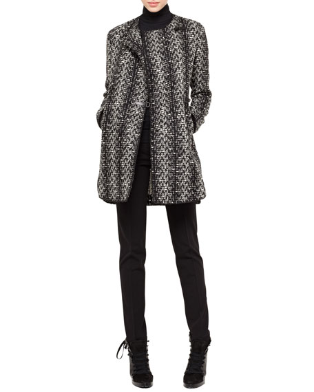Tweed No-Closure Coat, Black/Cream