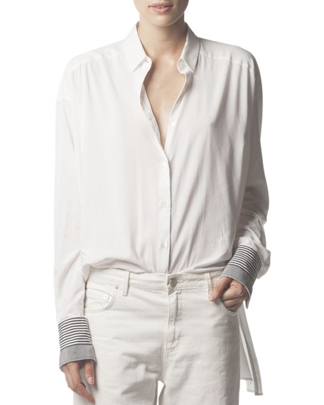 Long-Sleeve Button-Up Collared Shirt, White