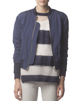 Acne Studios Zip-Up Tech Fabric Bomber Jacket, Midnight Blue