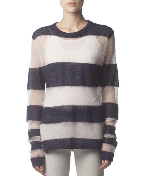 Mohair-Blend Striped Long-Sleeve Sweater