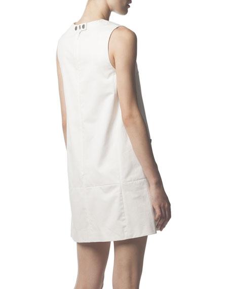 Zipper-Pocket Cotton Tunic Dress, White