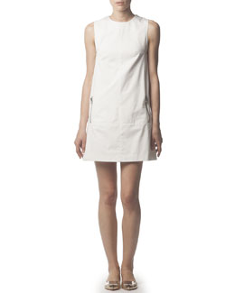 Acne Studios Zipper-Pocket Cotton Tunic Dress, White