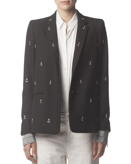 Wool Blazer with Silver Anchor Studs