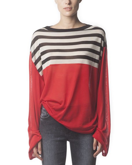 Long-Sleeve Striped Silk Top, Poppy Red