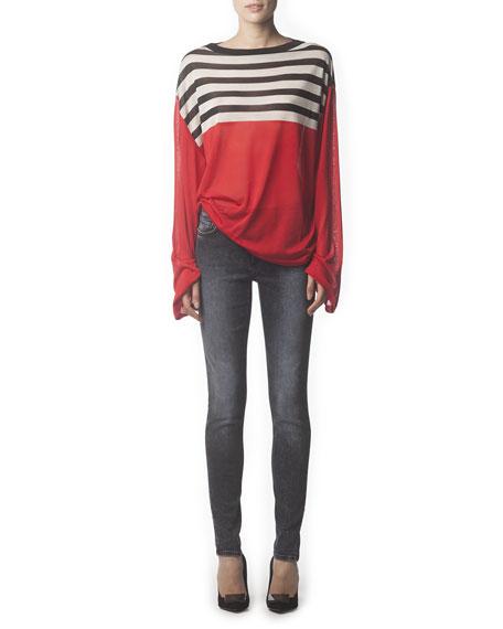Faded 5-Pocket Skinny Jeans, Onyx