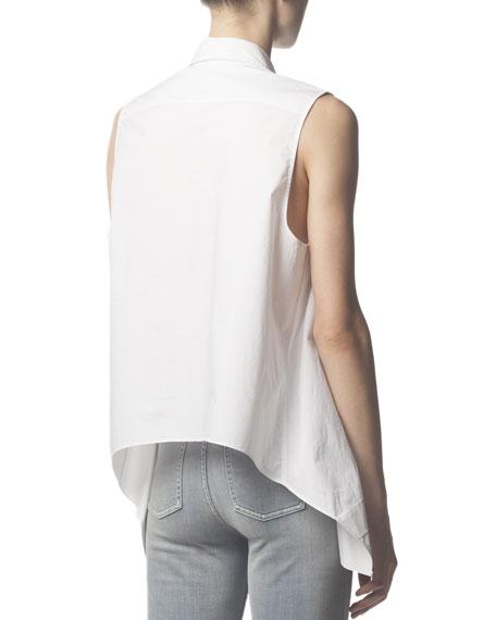 Sleeveless Collared Button-Down Blouse, White