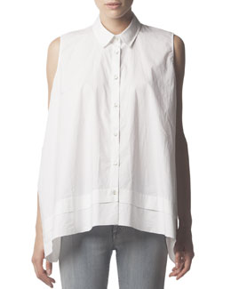 Acne Studios Sleeveless Collared Button-Down Blouse, White