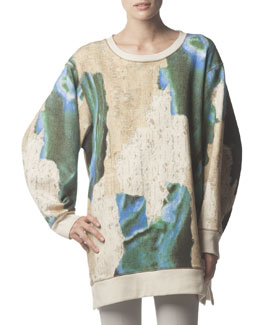 Acne Studios Long-Sleeve Avedon Print Sweatshirt, Blue/Taupe