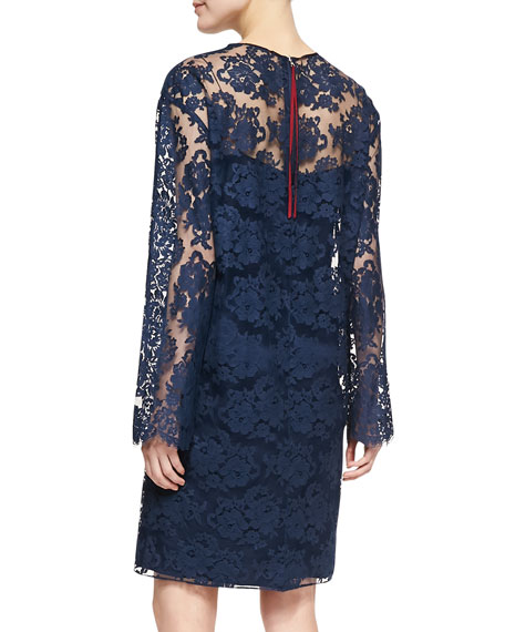 Long-Sleeve Lace Dress, Marine