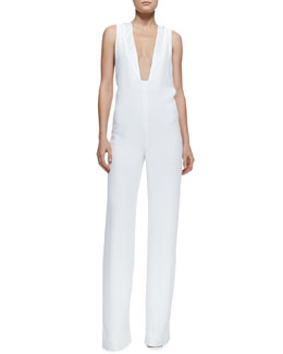 Adam Lippes Plunging V Jumpsuit with Peekaboo Back, White