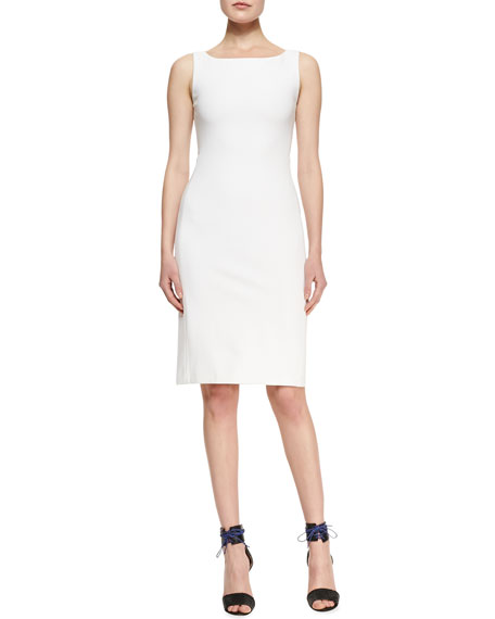Sleeveless Cady Dress with Back Zip, White