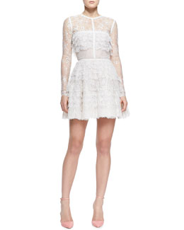 Elie Saab Ruffled Lace Fringe Long-Sleeve Dress
