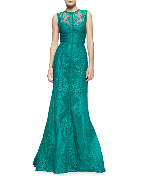 Sleeveless Paisley-Lace Gown