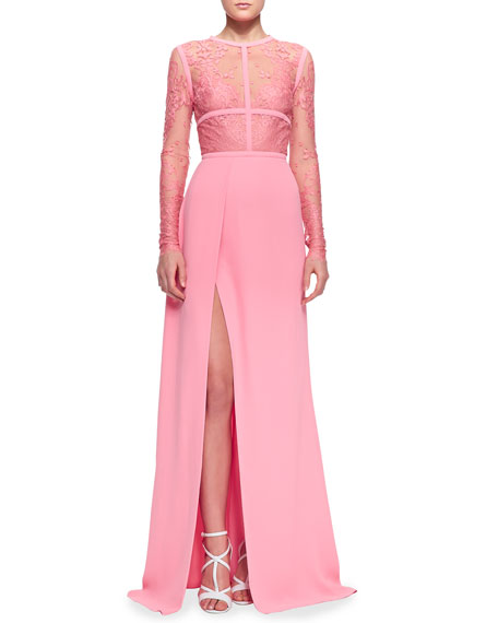 Lace-Top Slit Long-Sleeve Gown